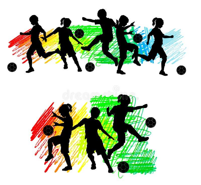 De Jongens en de Meisjes van de Jonge geitjes van de Silhouetten van het voetbal royalty-vrije illustratie
