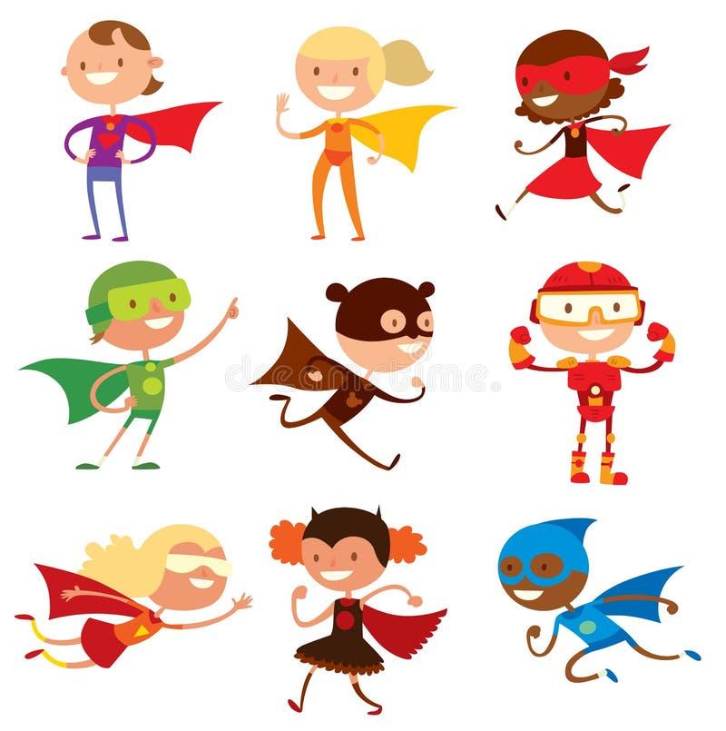 De jongens en de meisjesbeeldverhaalvector van Superherojonge geitjes stock illustratie
