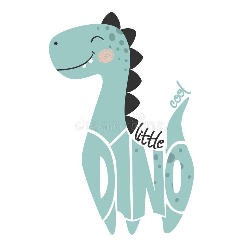 De jongens leuke druk van de dinosaurusbaby Weinig koele slogan en het van letters voorzien van Dino stock illustratie