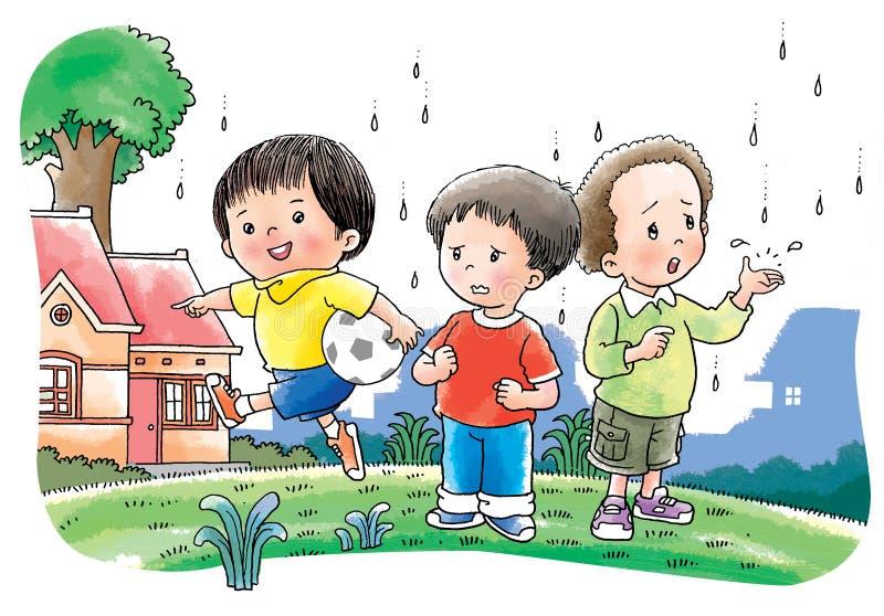 De jongens spelen voetbal vector illustratie