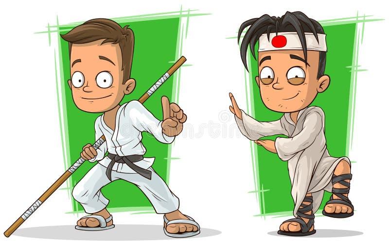 De jongens van de beeldverhaalkungfu in de witte vectorreeks van het kimonokarakter royalty-vrije illustratie