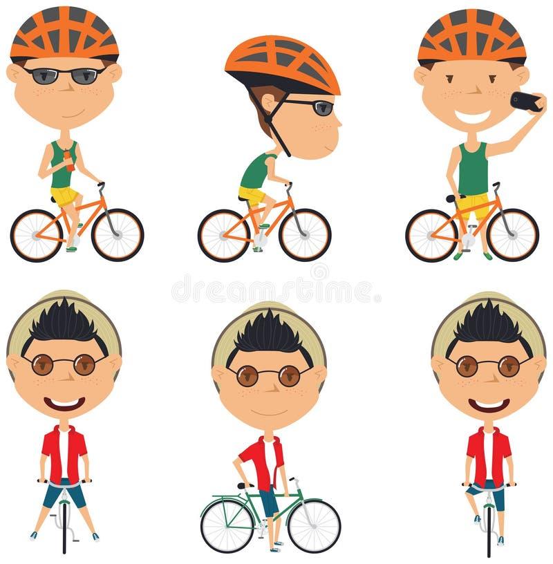 De jongens van de fietsruiter stock illustratie
