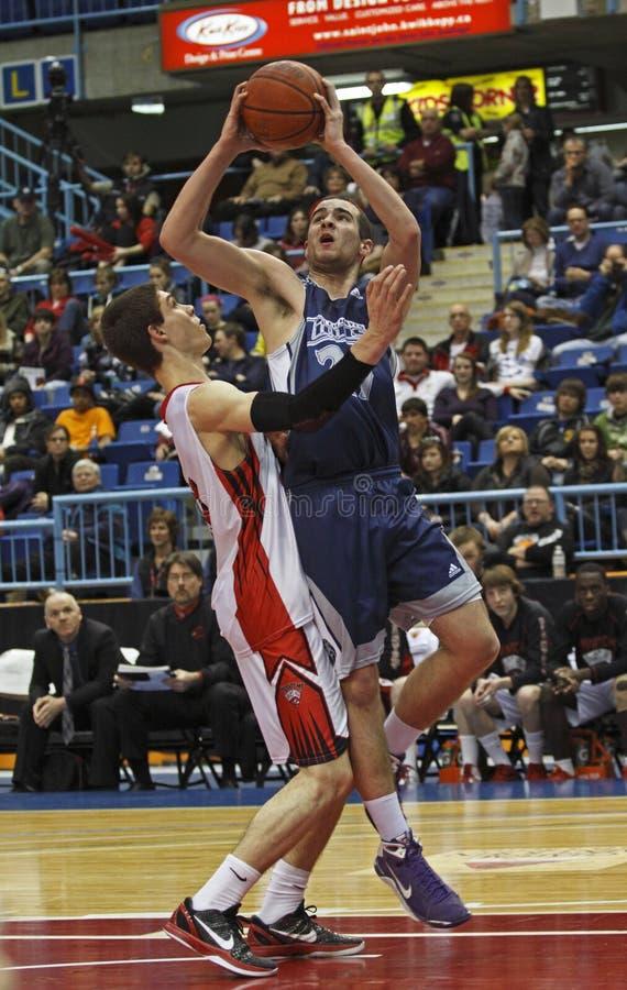 De jongens van het basketbal twee spelers stock afbeelding