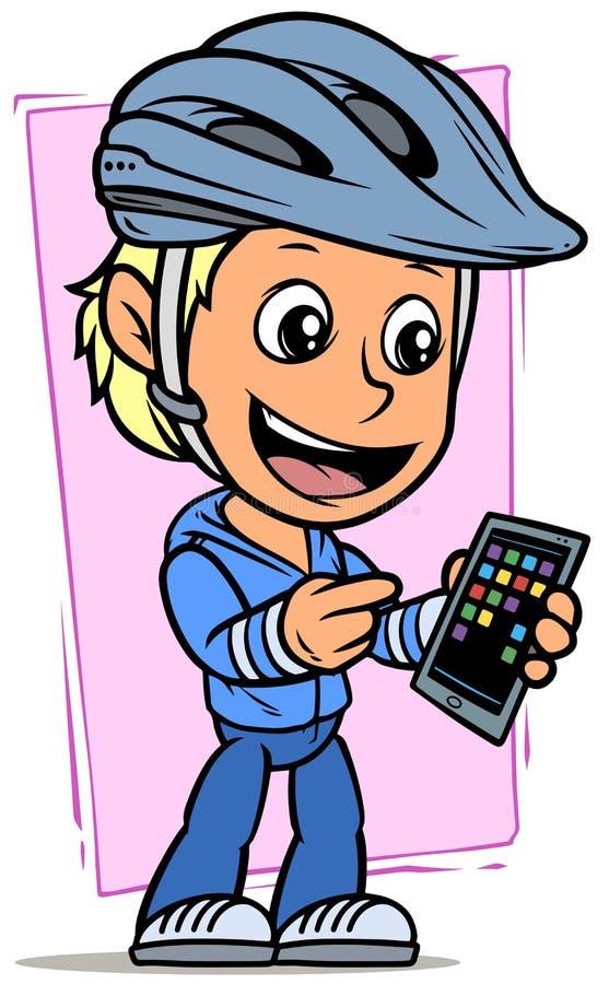 De jongenskarakter van de beeldverhaalfietser met smartphone vector illustratie