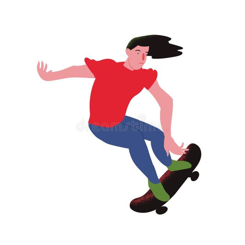 De jongensschaatser Kerel met rode t-shirtbranding op skateboard Vectorillustratie ge?soleerd voorwerp vector illustratie