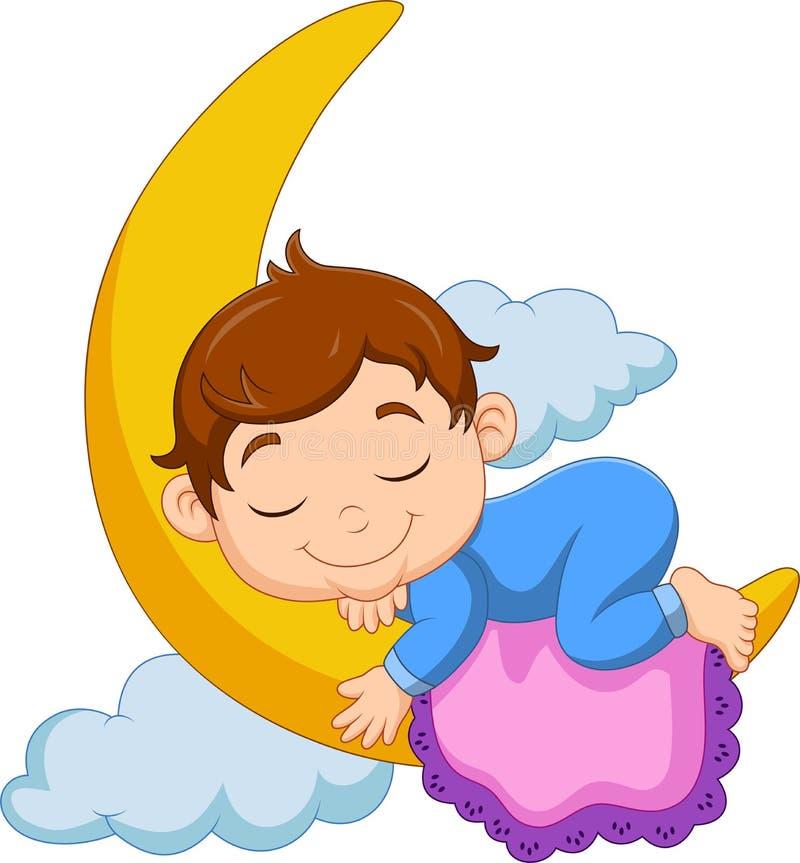 De jongensslaap van de beeldverhaalbaby op de maan stock illustratie