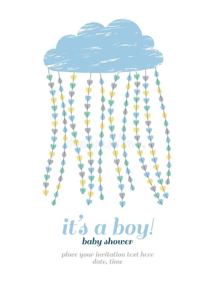 De jongensuitnodiging van de babydouche Wolk, harten, dalingen royalty-vrije illustratie