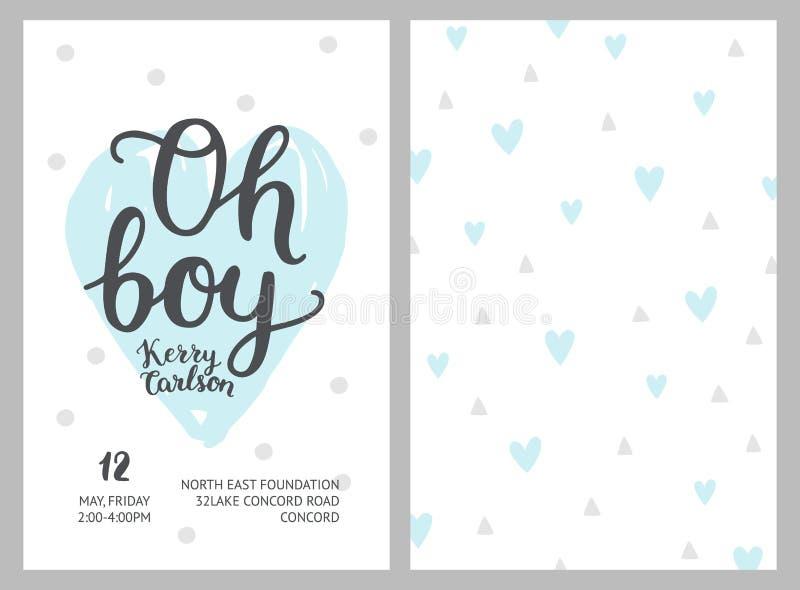 De jongensuitnodigingen van de babydouche stock illustratie