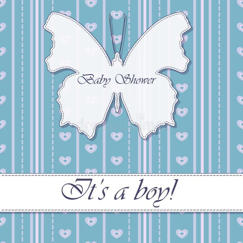 De jongenswijnoogst van de babydouche met vlinderbanner royalty-vrije illustratie