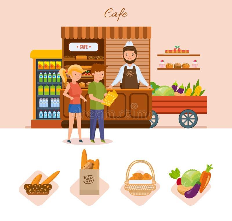 De jongeren in de koffie kiest producten van het menu stock illustratie
