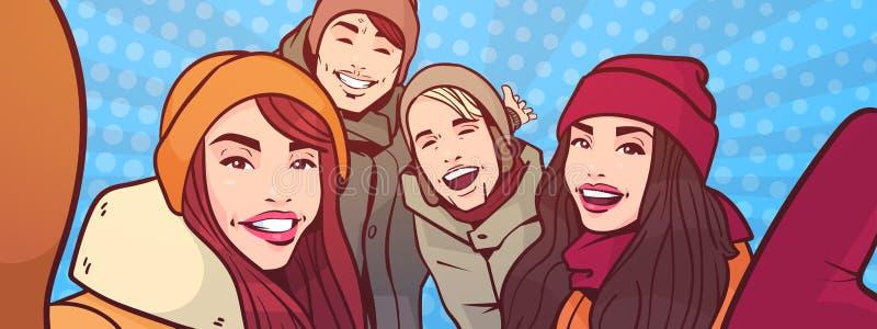 De jongeren neemt Selfie-Foto over de Kleurrijke Retro Mannen Stijl van het Achtergrondmengelingsras en de Vrouwen groeperen het  royalty-vrije illustratie