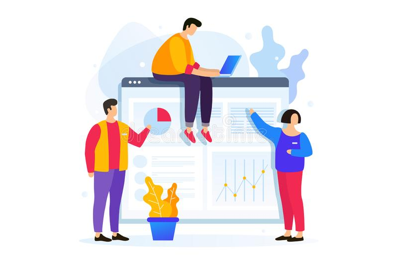 De jongeren werkt met bedrijfsgrafiek aan het scherm van mobiel apparaat en aan laptop vector illustratie