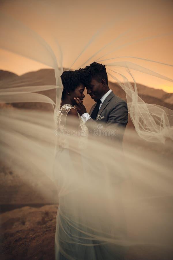 De jonggehuwden bevinden zich onder bruidssluier en omhelzen in canion bij zonsondergang royalty-vrije stock afbeelding