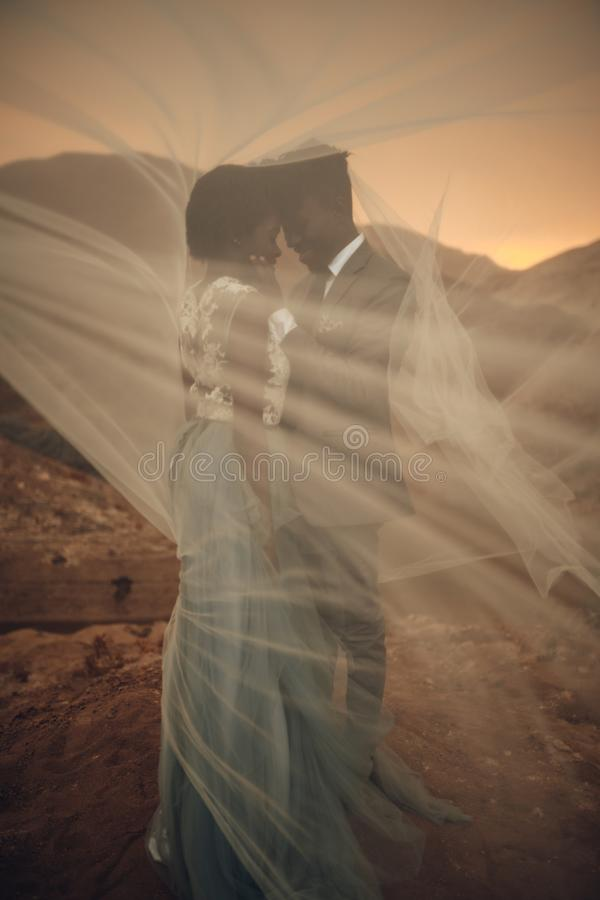 De jonggehuwden bevinden zich onder bruidssluier en omhelzen in canion bij zonsondergang stock afbeeldingen
