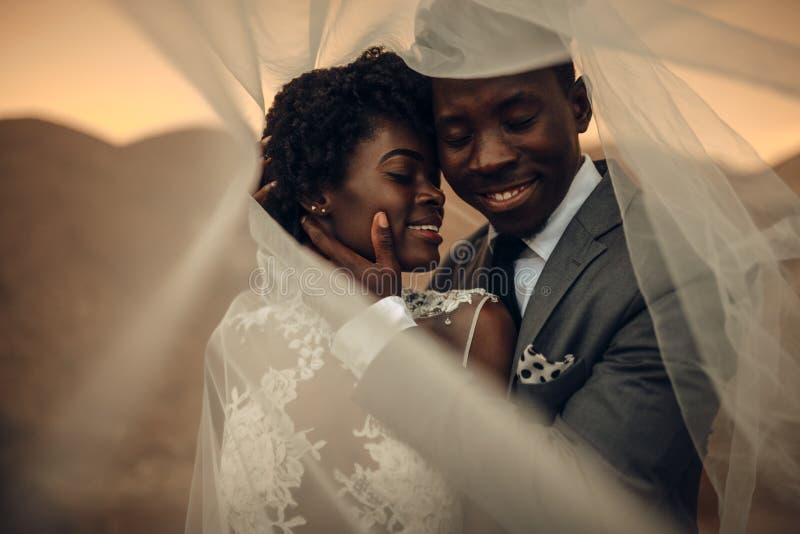 De jonggehuwden bevinden zich onder bruidssluier, omhelzen en glimlachen in canion a stock fotografie