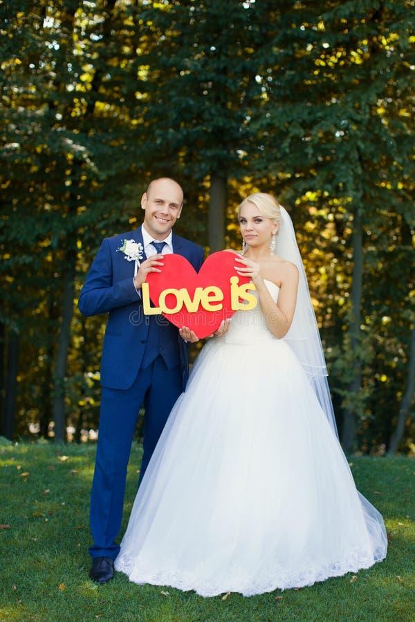 De jonggehuwden houden een rood hart stock afbeeldingen