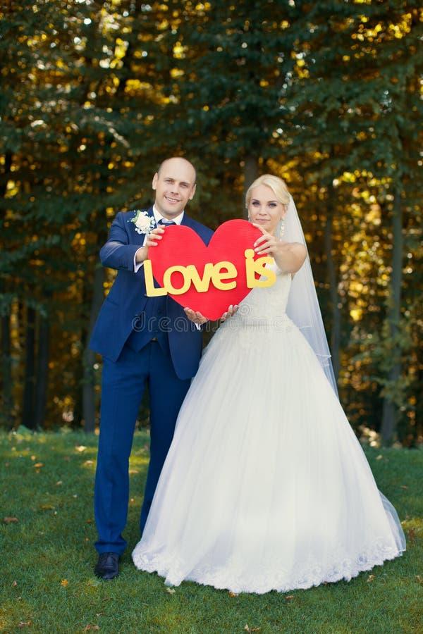 De jonggehuwden houden een rood hart stock afbeelding