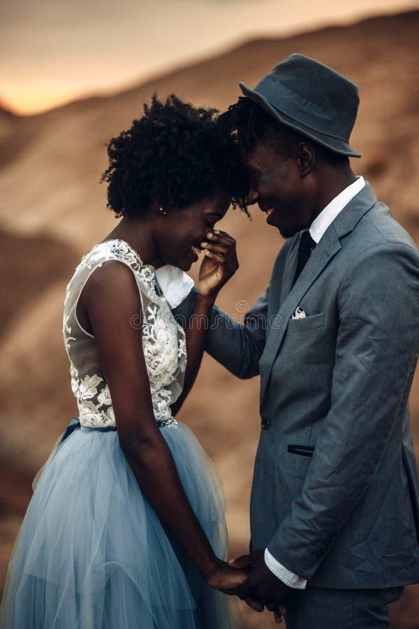 De jonggehuwden houden handen, lachen en bevinden zich tegen mooi landschap royalty-vrije stock afbeeldingen