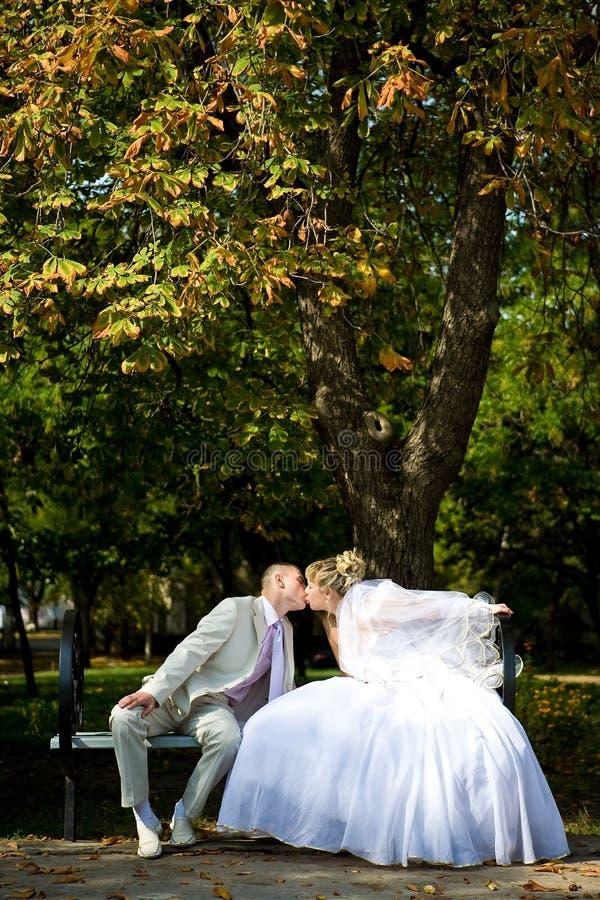 De jonggehuwden kussen stock foto's