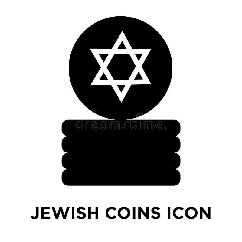 De Joodse die vector van het Muntstukkenpictogram op witte achtergrond, conc embleem wordt geïsoleerd vector illustratie
