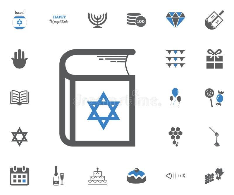 De Joodse geplaatste pictogrammen van de Vakantiechanoeka Vector illustratie stock illustratie