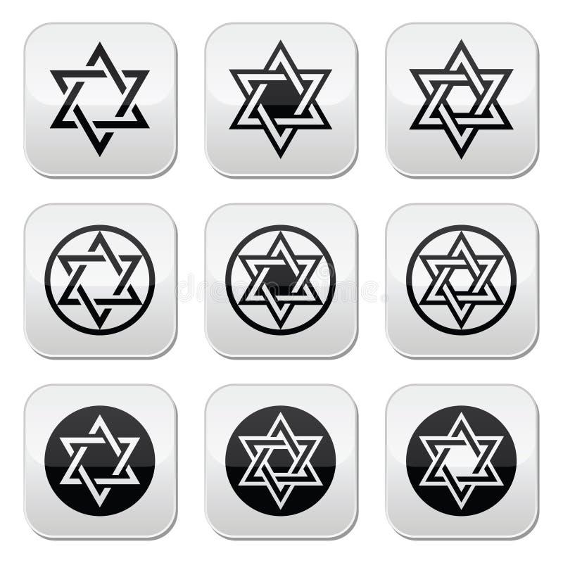 De Joodse, Jodensterpictogrammen plaatsen op wit geïsoleerd royalty-vrije illustratie