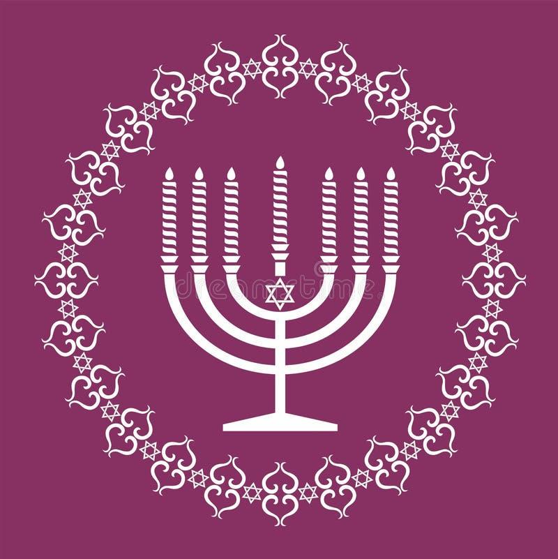 De Joodse vectorachtergrond van de menorahvakantie royalty-vrije illustratie