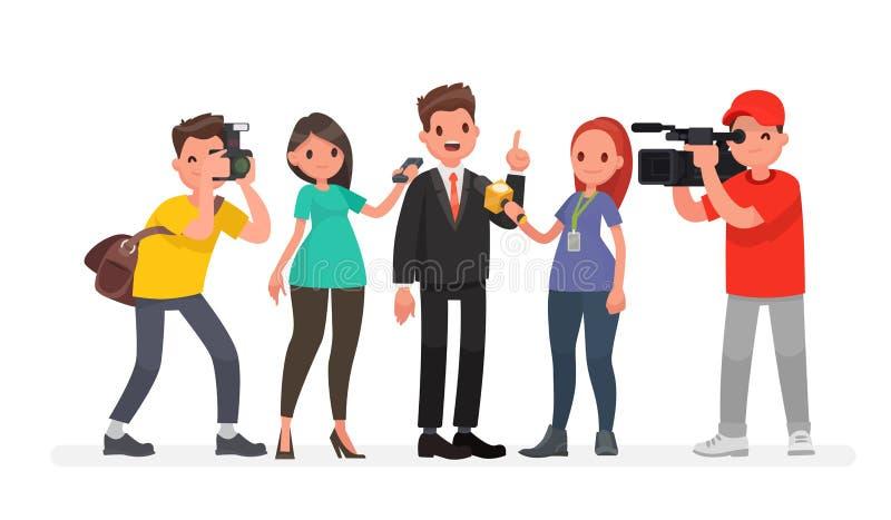 De journalisten van nieuwskanalen en radiostations zijn nemen geïnterviewd Karakters videographer en fotograaf royalty-vrije illustratie
