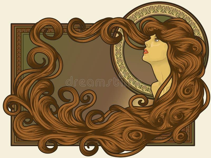 De Jugendstil stileerde het gezicht van de vrouw met lang haar stock illustratie