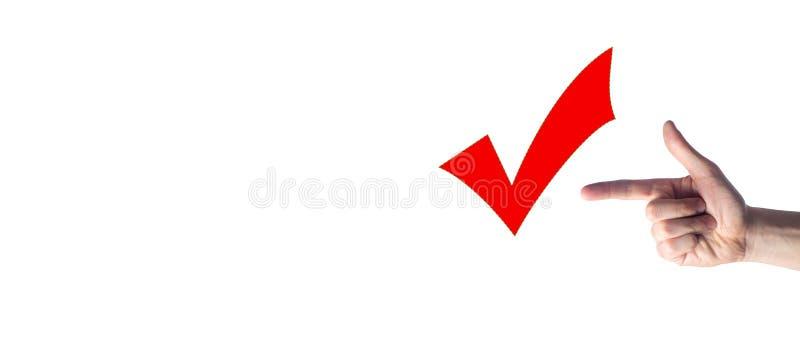 De juiste keus, die het concept succes, een goede score, een vinger met een kanon richt aan een tik stemmen Plaats voor tekst stock fotografie