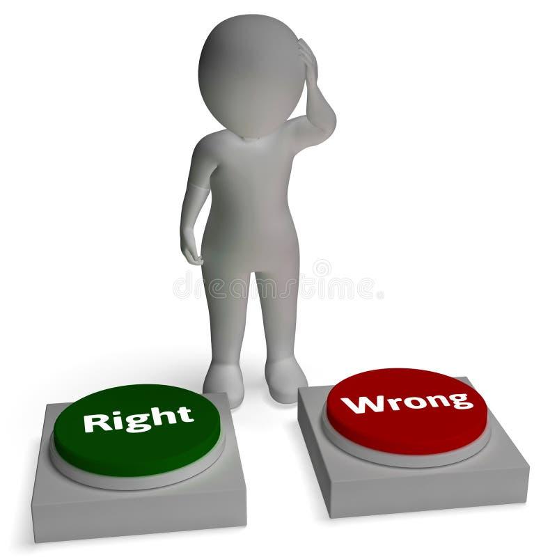 De juiste Verkeerde Knopen toont Correct of Onjuist stock illustratie