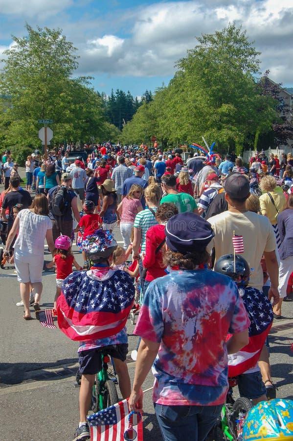 4 de julho as crianças desfilam América imagem de stock royalty free