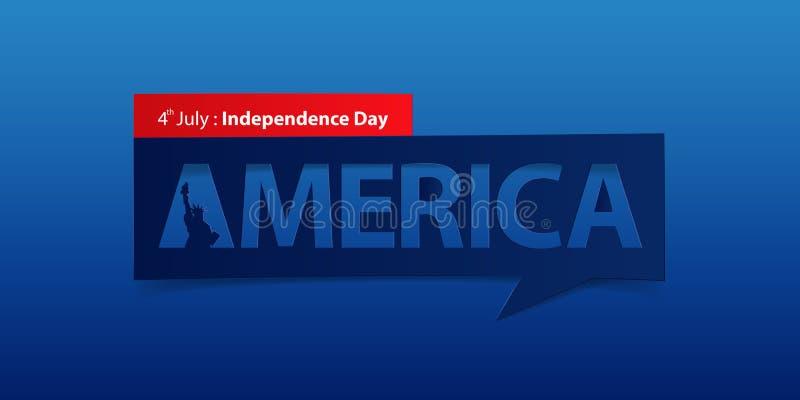 4 de julho bandeira do Dia da Independência isolada no fundo azul do inclinação da cor Molde do projeto da bandeira Vetor ilustração royalty free