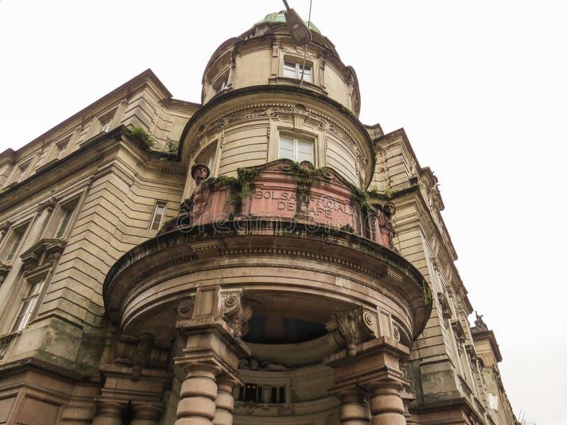 22 de julho de 2018, cidade de Santos, São Paulo, Brasil, fachada da troca do café, construção histórica fotografia de stock
