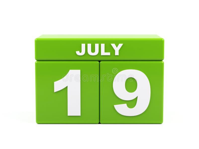 19 de julho Imagem do 19 de julho, calendário no fundo branco 3d ilustração do vetor
