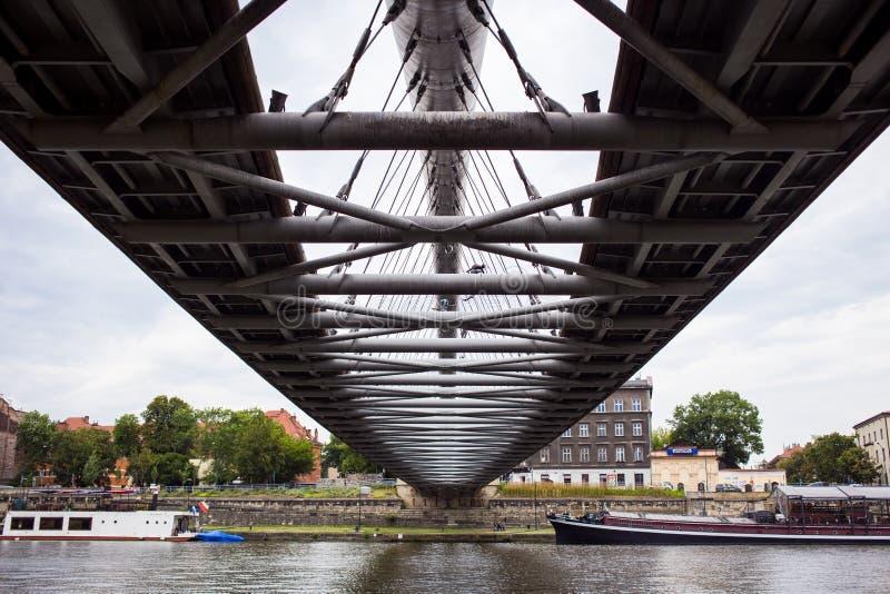 10 de julho de 2017 Krakow, Polônia-ponte sobre Vistula River em Krak imagem de stock royalty free