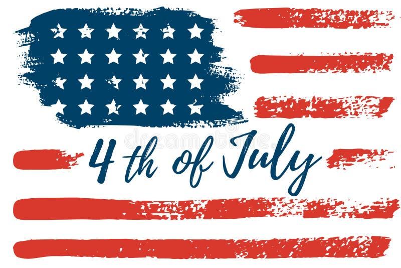 4 de julho a m?o da bandeira dos EUA tira os cursos da escova Fundo abstrato do grunge do vetor ilustração stock