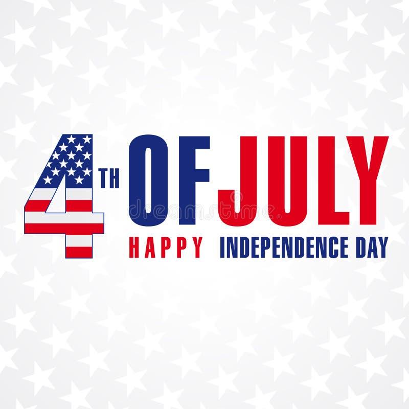 4 de julho, o Dia da Independência feliz de EUA stars o cartaz ilustração do vetor