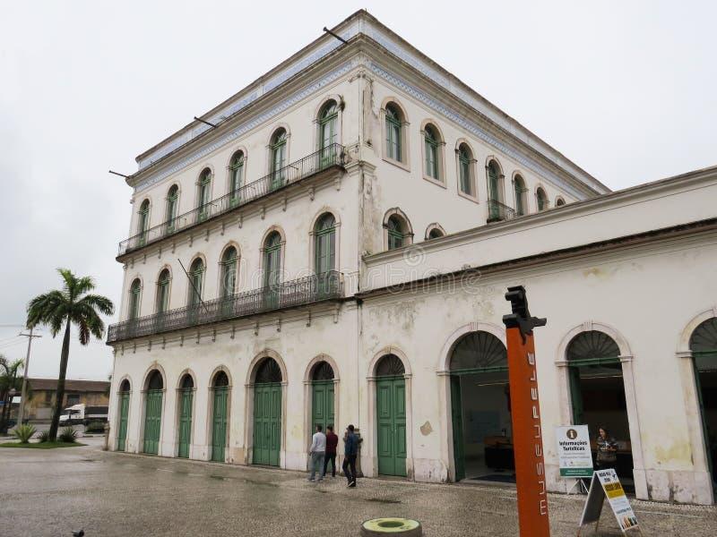 22 de julho de 2018, Santos, São Paulo, Brasil, centro histórico, museu atual de Casarão Valongo Pele imagem de stock royalty free