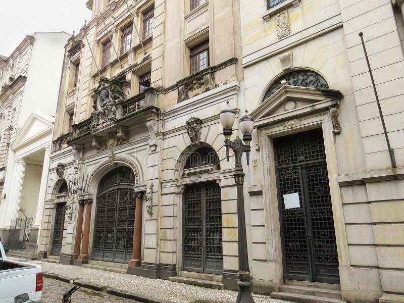 22 de julho de 2018, Santos, São Paulo, Brasil, mansão do centro histórico imagens de stock royalty free