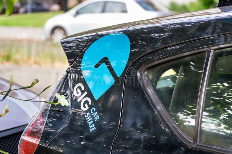 13 de julio de 2019 Berkeley/CA/los E.E.U.U. - la parte del coche del CARRUAJE es un servicio del coche compartido del AAA, en Sa fotos de archivo libres de regalías