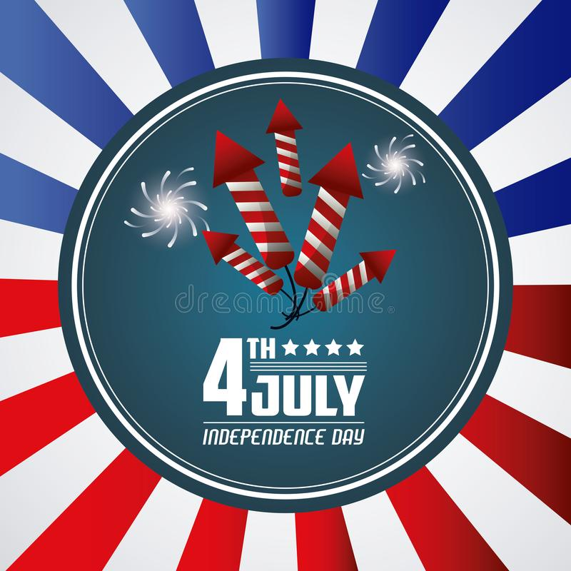 4 de julio celebración del evento del saludo de la tarjeta del Día de la Independencia stock de ilustración