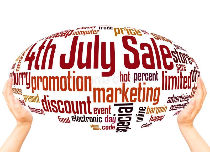 4 de julio concepto de la esfera de la nube de la palabra de la venta imagen de archivo libre de regalías