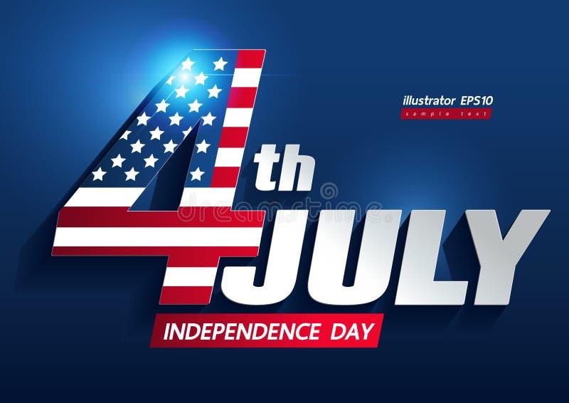 4 de julio Día de la Independencia stock de ilustración