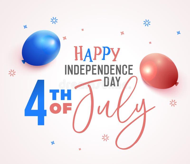 4 de julio, Día de la Independencia feliz en los Estados Unidos de América, los E.E.U.U. Fondo festivo del diseño del ejemplo del libre illustration