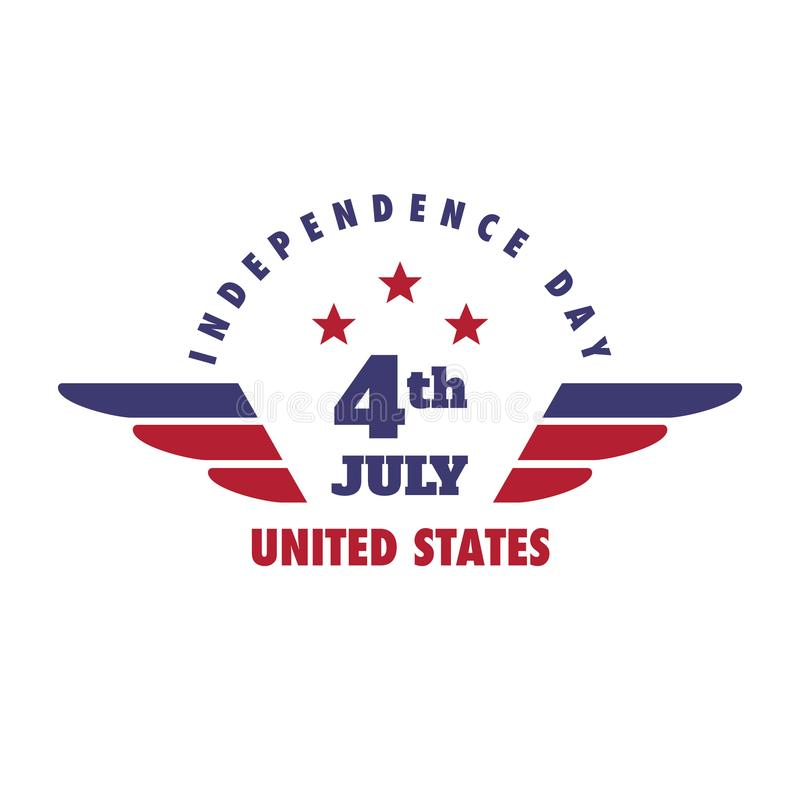 4 de julio emblema del Día de la Independencia de Estados Unidos, Logo Set libre illustration