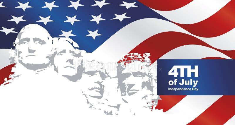 4 de julio fondo del paisaje de la bandera de Rushmore los E.E.U.U. stock de ilustración