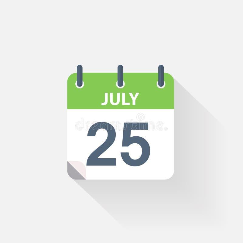 Calendario Julio Del 2000.17 De Julio Icono Del Calendario Stock De Ilustracion