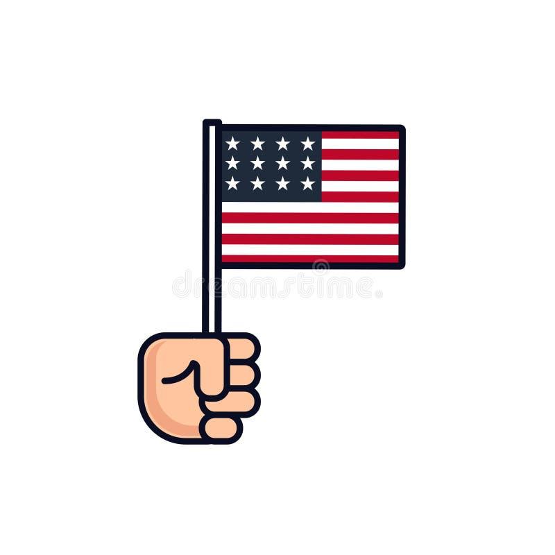4 de julio Icono patriótico Día de la Independencia de América label Mano con la bandera americana aislada en el fondo blanco stock de ilustración