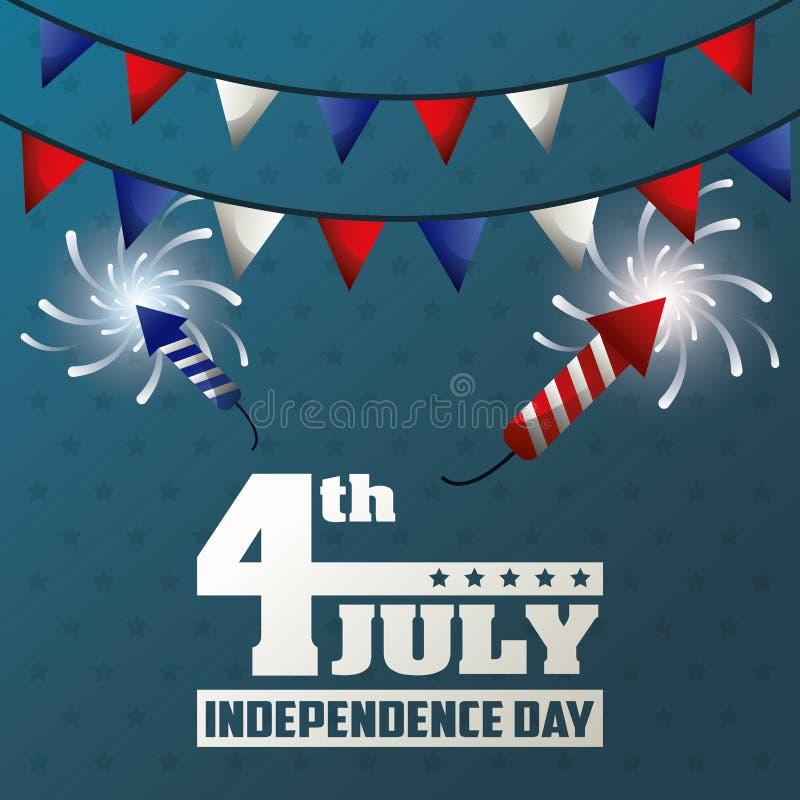 4 de julio la decoración de los fuegos artificiales de la guirnalda del Día de la Independencia celebra ilustración del vector